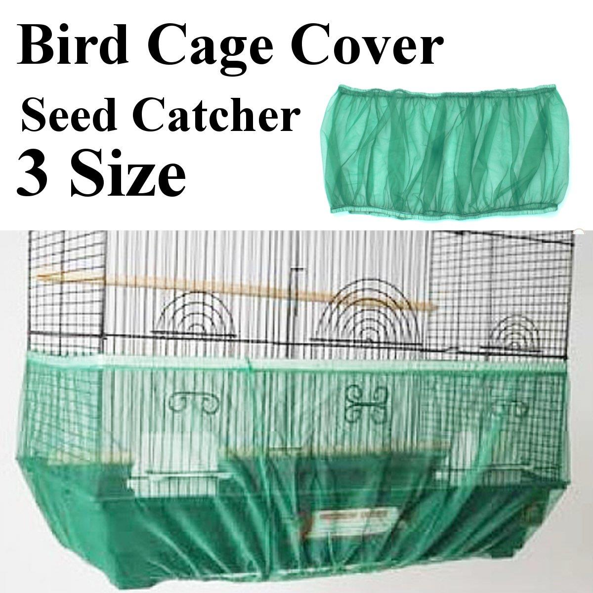 Nylon mesh bird cage cover green seed guard bird seed catcher parrot budgie canary shade cloth traps cage debris in cages nests from home garden on