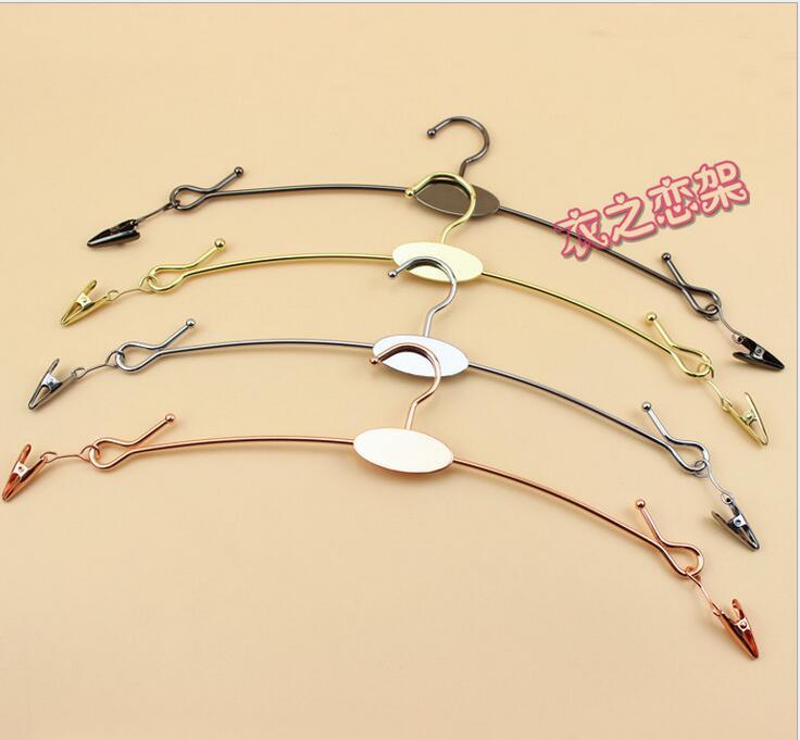 10pcs lot 28cm Top Grade Metal Hangers For Clothes Pants Clip Underwear Bra Hanger Panties Clips