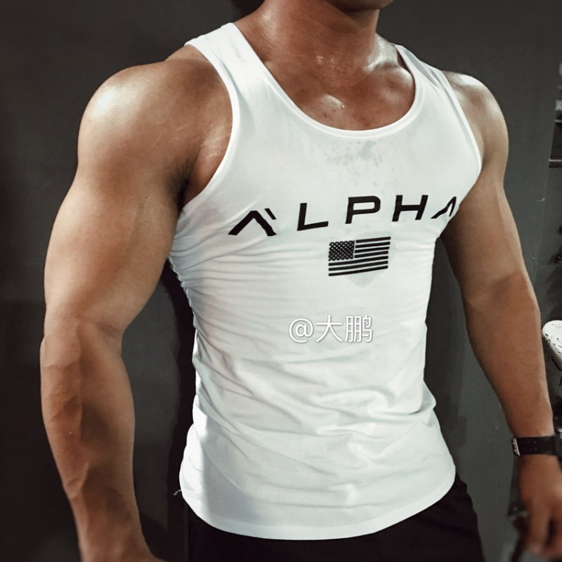 Brand alpha clothing bodybuilding stringer gyms   tank     top   men fitness singlet cotton sleeveless shirt muscle vest