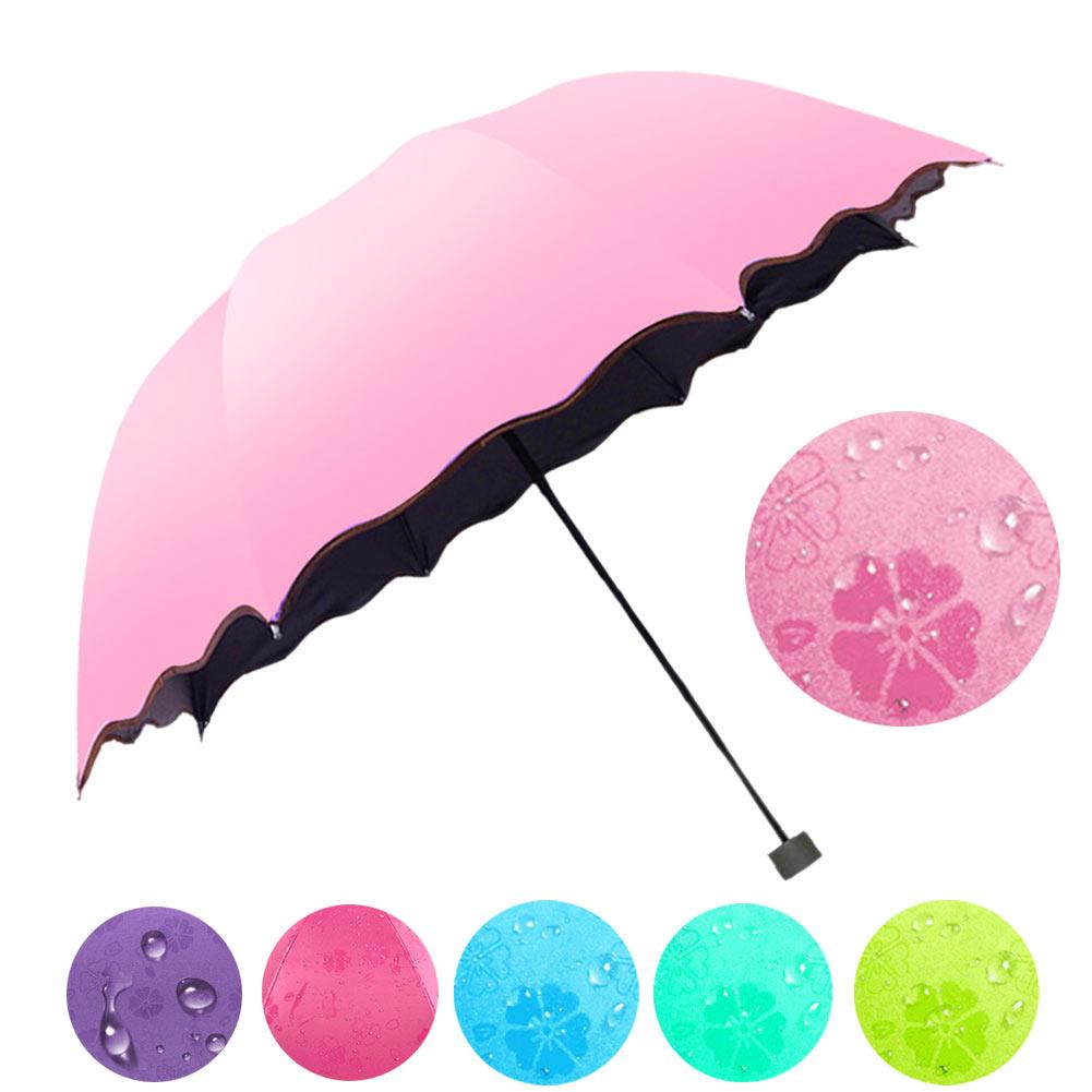Simple Women Umbrella Windproof Sunscreen Magic Flower Dome Ultraviolet-proof Parasol Su ...