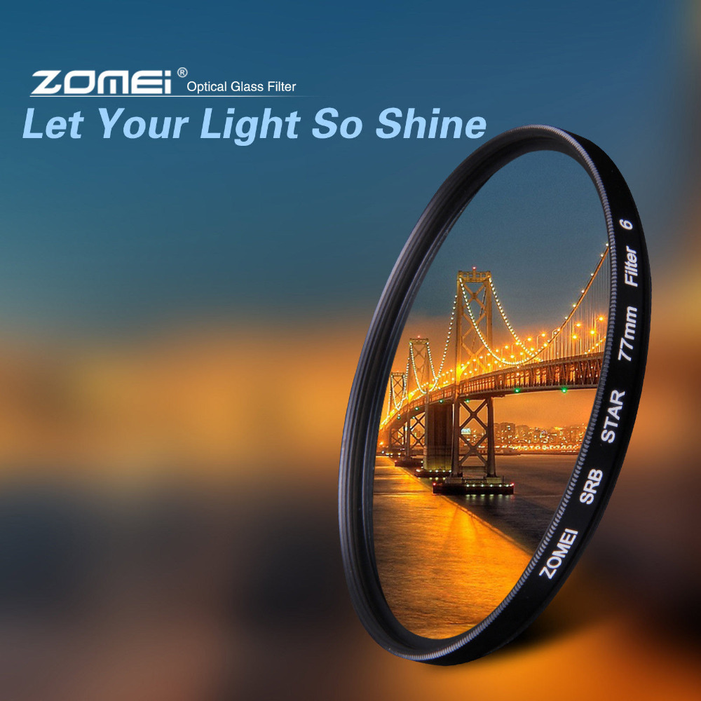 ZOMEI Star filter +4 Points + 6 Points + 8 Points for Canon Nikon DSLR Camera Lens 52/55/58/62/67/72/77mm светофильтр fujimi star 6 77mm