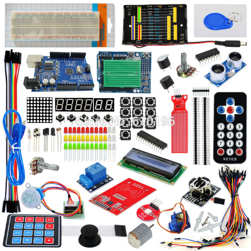 Electronic Fans Kit Breadboard Cable Resistor Capacitor LED Potentiometer Module Potentiometer Component for Arduino