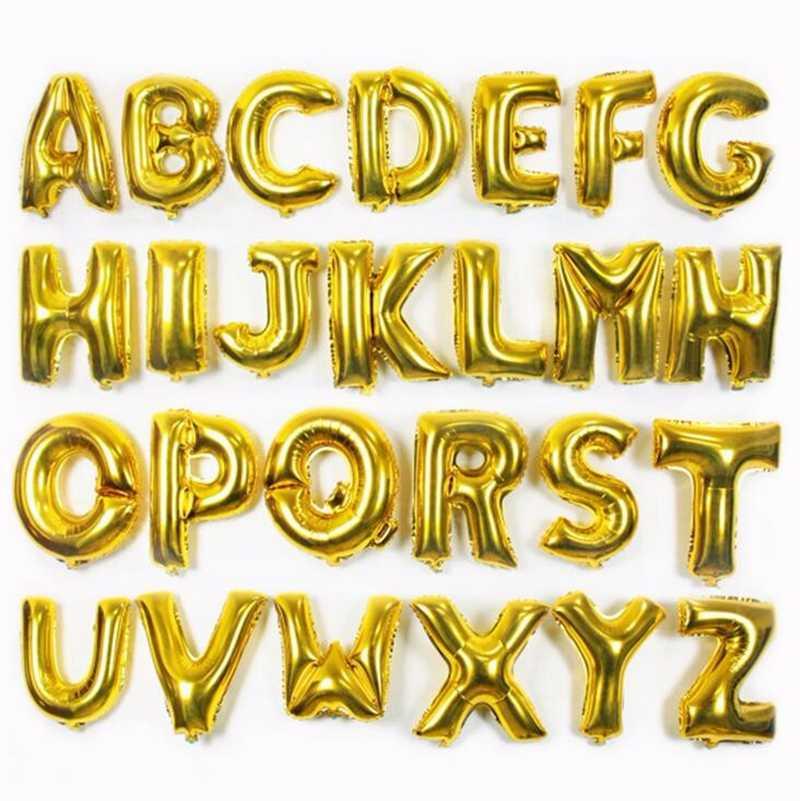 16 pulgadas oro plata azul Rosa alfabeto letra globos inflable Bola de aire figura papel de aluminio cumpleaños fiesta boda decoración bola
