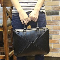 Black Classic Men's Briefcase Business Handbag Men Crossbody Bags High Quality PU Leather Shoulder Laptop Bag Male Bolsa Mochila