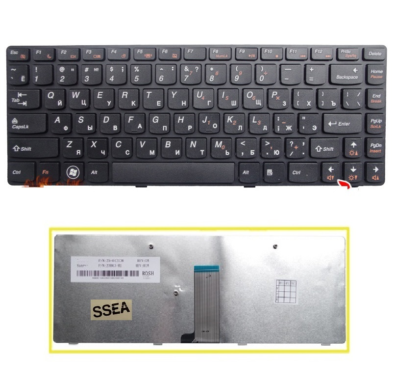 SSEA New Russian <font><b>Keyboard</b></font> black for <font><b>Lenovo</b></font> G400 G405 G480 G410 G485 G490 Z380 <font><b>Z480</b></font> Z485 laptop RU <font><b>Keyboard</b></font> image