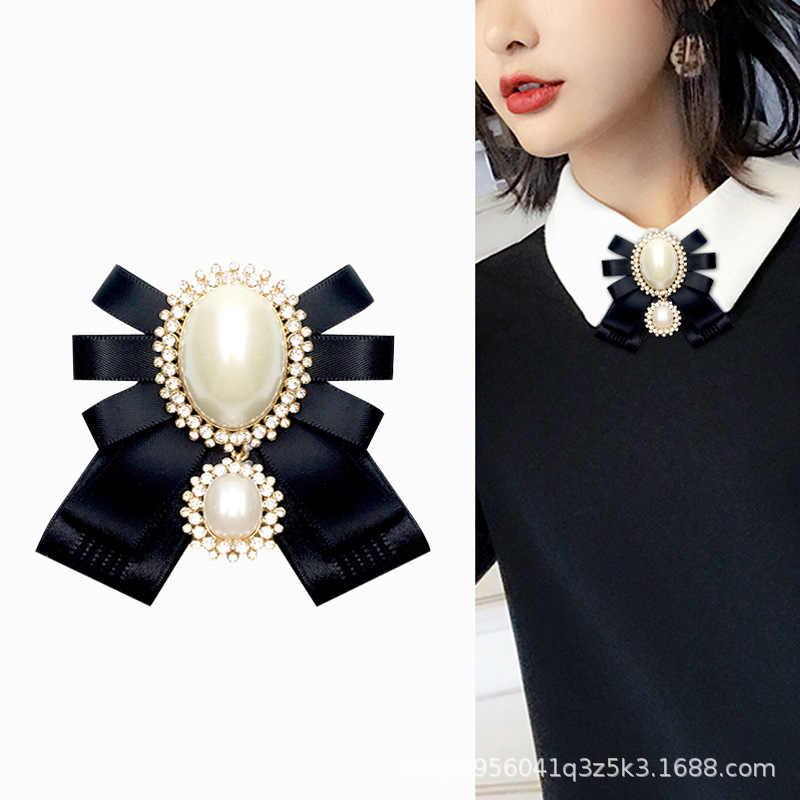i-Remiel Fashion New Korean Pearl Bow Tie Brooch for Female Ancient Rhinestone  Lapel Pin 48883978e1db
