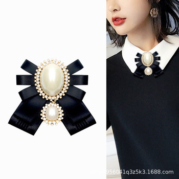 i-Remiel Fashion New Korean Pearl Bow Tie Brooch for Female Ancient Rhinestone Lapel Pin Badge Corsage Shirt Collar Accessories buddhist rope bracelet
