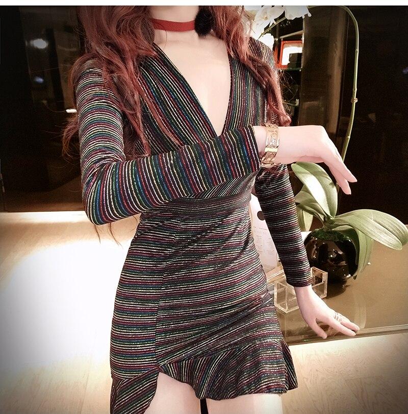 Real shot New women's deep V-neck sexy nightclub dress 2019 fashion temperament hem fishtail pocket hip long sleeve dress 3