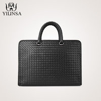 Genuine Leather Handbag Calf Craft Business Briefcase High Quality Commercial Computer Messenger Woven Bags
