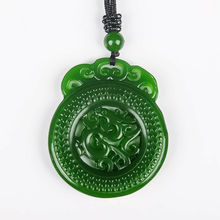 Natural Green Hand-carved Chinese Hetian Jasper Dragon Pendant + Rope Necklace natural green hand carved chinese hetian stone guanyin pendant rope necklace