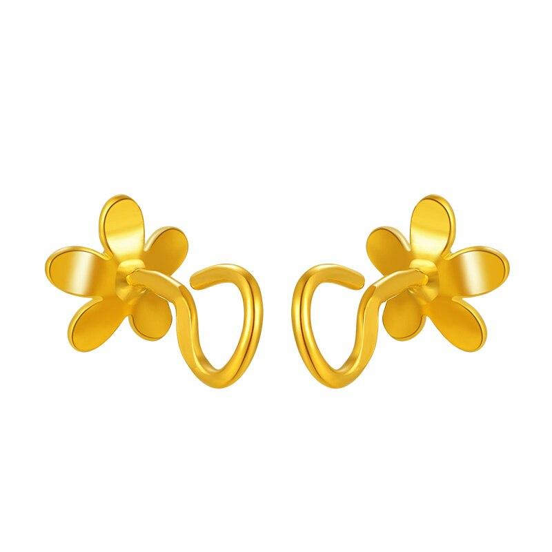 Чистое 999 желтое золото цветок серьги гвоздики 2,11 г - 3