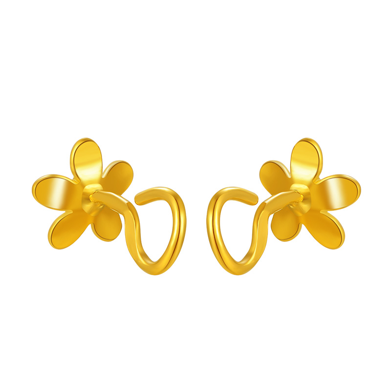 Pure 999 Yellow Gold Flower Stud Earrings 2.11g - 3