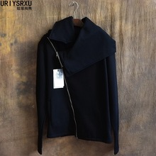S-4XL!!!Oblique zipper male plus size black autumn and winter outerwear cardigan sweatshirt thermal male thin outerwear