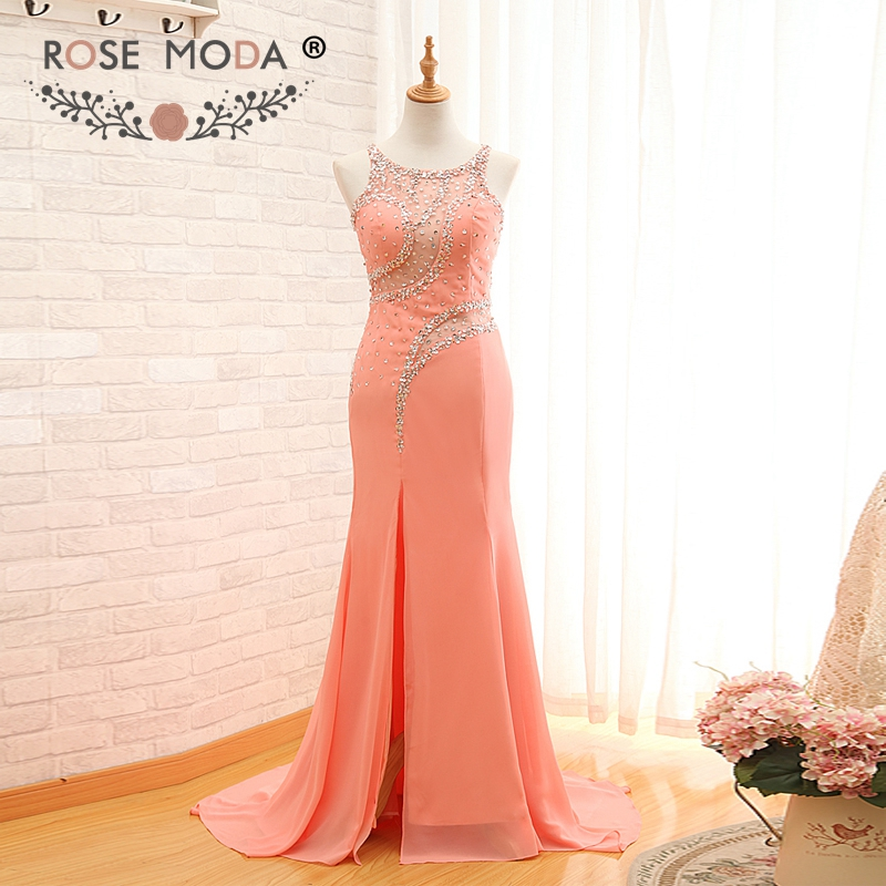 Rose Moda Sexy Peach   Evening     Dress   with Slit Floor Length Cut Out Crystal Beaded Illusion Back Formal Party   Dress   2019