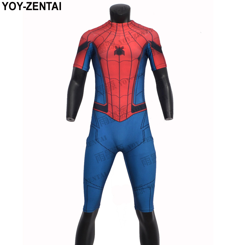 YOY-ZENTAI High Quality Sports Fitness Suit Spiderman Fitness Jumpsuit Spiderman Sports Fitness Clothing Male Crossfit Tshirt
