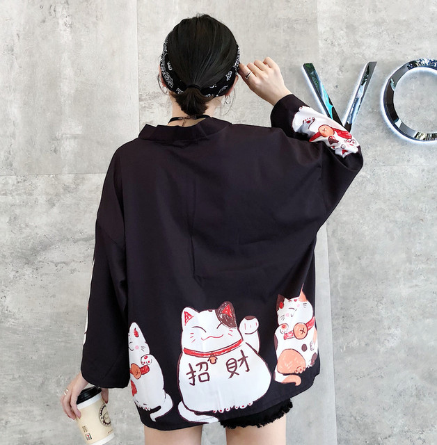 Kpop Ulzzang Cute Fashion Women's Kimono Summer Japanese Harajuku Street Shirts Vintage Kawaii Cat Blouses Female Cardigan Tops 3