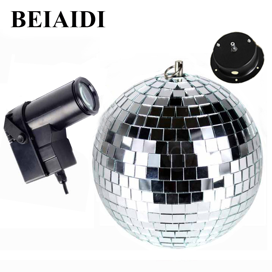 BEIAIDI D25cm Glass Rotating Mirror Reflection Ball With Motor + 10W RGB LED Pinspot Spotlight Beam Disco DJ Party Stage Light colorfull light mirror reflection glass ball stage festival hanging ball motor 10inch 19cm