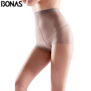 Image 1 - BONAS 6 sztuk/partia hurtownie kobiety rajstopy 15D Nylon Lady lato nowy wysokiej elastyczności elastan rajstopy kobiece bezszwowe miękkie rajstopy
