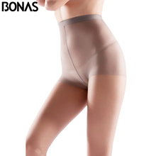 Женские нейлоновые колготки BONAS 6 шт./лот, оптовая продажа, женские летние колготки 15D из высокоэластичного спандекса, женские бесшовные мягкие колготки