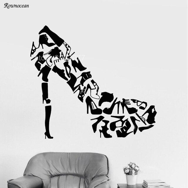 Creative Design High Heel Fashion Shoes Store Wall Decals Vinyl Wall  Sticker Home Decor Girls Bedroom