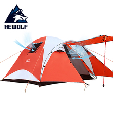 лучшая цена Hewolf Tent 3 Person Double Layer Set Waterproof Outdoor Tourist Equipment Mountaineering 4 Man Hunting Tents For Camping Family