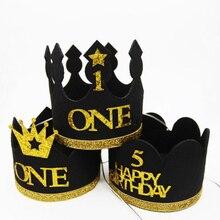 1 шт. шляпы на день рождения декоративная крышка шляпа на первый день рождения принцесса мальчик Корона 1, 2, 3 года номер День рождения украшения