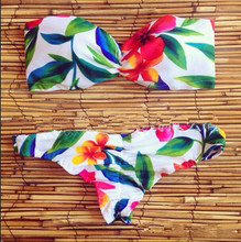 2016 new best quality Bikini summer flower real picture women Bikini Swimsuit girl Swimwear sexy swimming suit Plump top quality