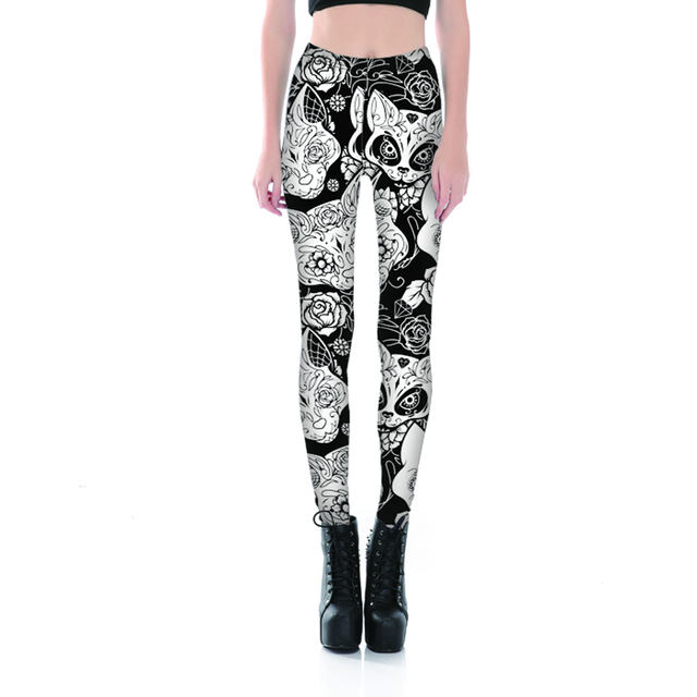 Black and White Cat Print Leggings