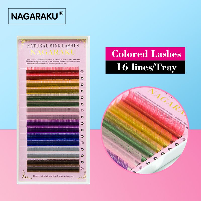 2015 Hot Sale 16rows tray 8 Colors Rainbow Colored Eyelash Extension color eyelashes colorful eyelash extension