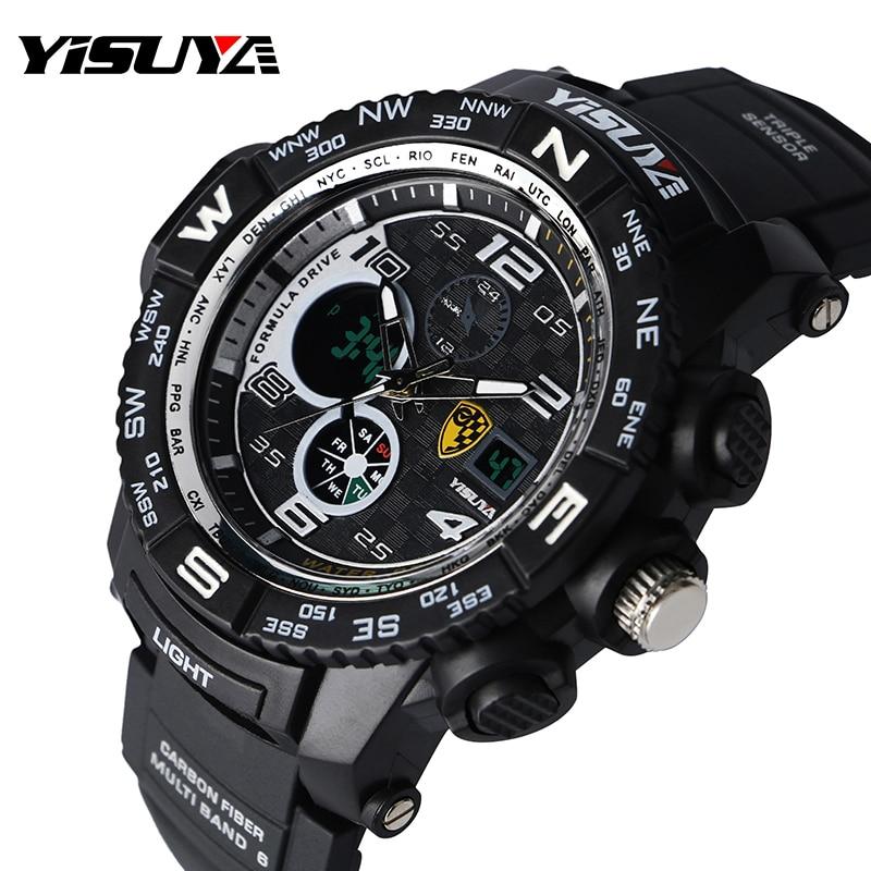 YISUYA Large Digital Stopwatch Date 3 Bar Water Resistant Sport Wrist Quartz Watch Waterproof Rubber Strap Ourdoor Male Clcok цена и фото