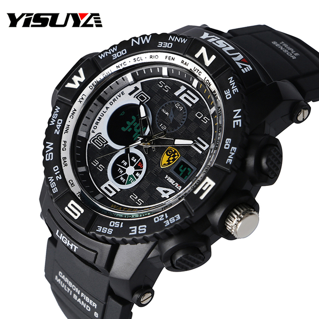 Yisuya Large Digital Stopwatch Date 3 Bar Water Resistant Sport Wrist Quartz Watch Waterproof Rubber Strap