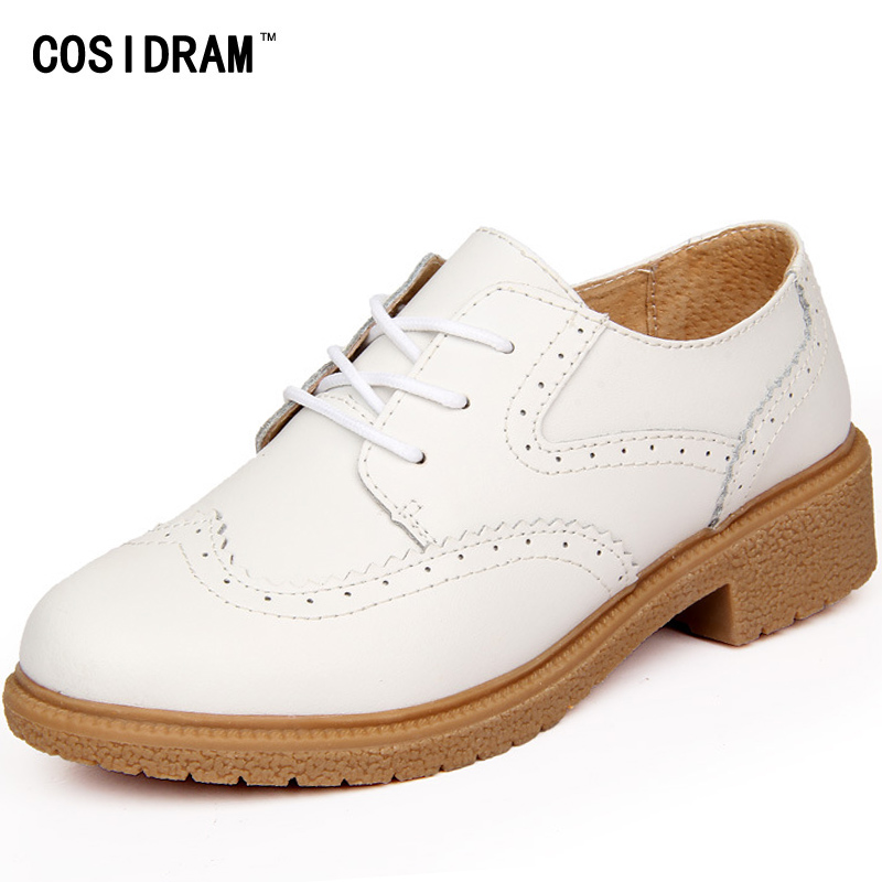 COSIDRAM Brogue Women Oxfords Genuine Leather Shoes Women Flats Ladies Fashion Oxford Shoes For Women New 2017 Female BSN-003 qmn women crystal embellished natural suede brogue shoes women square toe platform oxfords shoes woman genuine leather flats