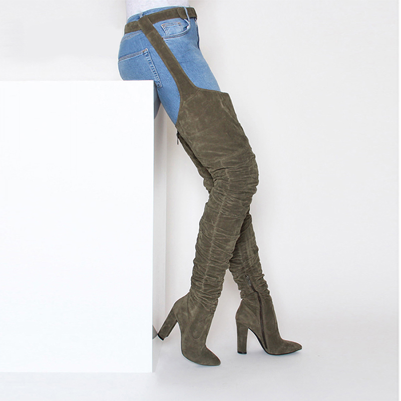 2018 New Fashion Women Boots Winter over knee long boots heels faux suede quality comfort block heels slim tight high women boot