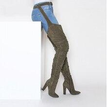 Новинка 2018, модные женские сапоги, зимние сапоги выше колена, качественные удобные облегающие высокие женские сапоги из искусственной замши