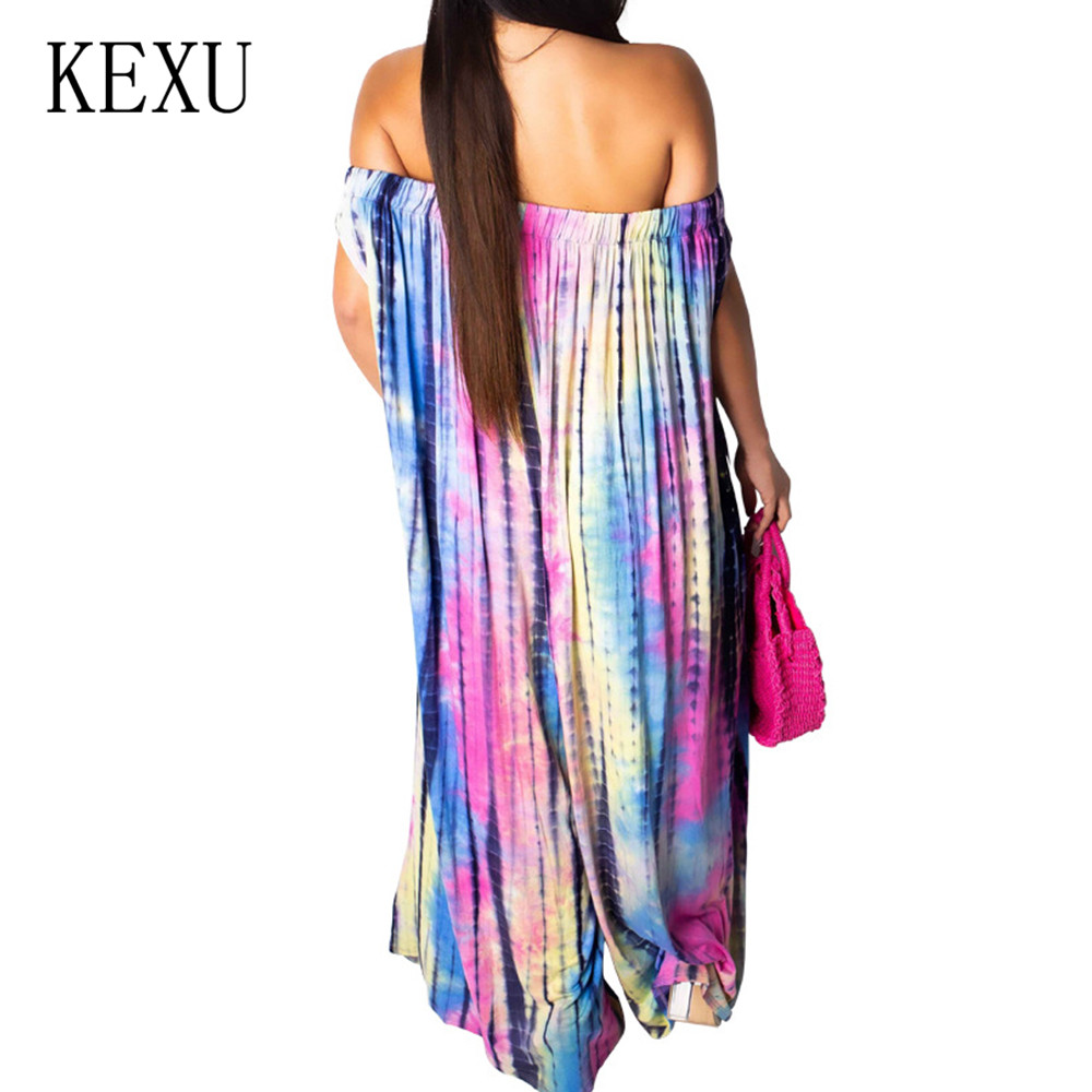 KEXU Off Shoulder Women Loose Summer Wide Leg Jumpsuits Vintage Painted Casual Playsuits Female Hollow Out Retro Party Overalls in Jumpsuits from Women 39 s Clothing