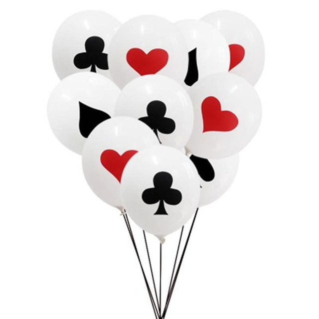 10 cái/lốc 12 inch Spades/Trái Tim/Câu Lạc Bộ/Kim Cương Bóng Latex Casino Thẻ Xúc Xắc Xi Nguồn Cung Cấp Bên Trang Trí Nội Thất thẻ chơi Bài Poker
