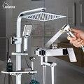Grifo de ducha de lujo cromado de latón acabado grifos de baño de doble manija de pared termostática Sistema mezclador de ducha con inodoro bidé