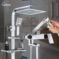 Tắm Vòi Nước Cao Cấp Chrome Brass Hoàn Tắm Vòi Kép Vòi Xử Lý Tường Tĩnh Nhiệt Shower Mixer Hệ Thống với Toilet Chậu Vệ Sinh