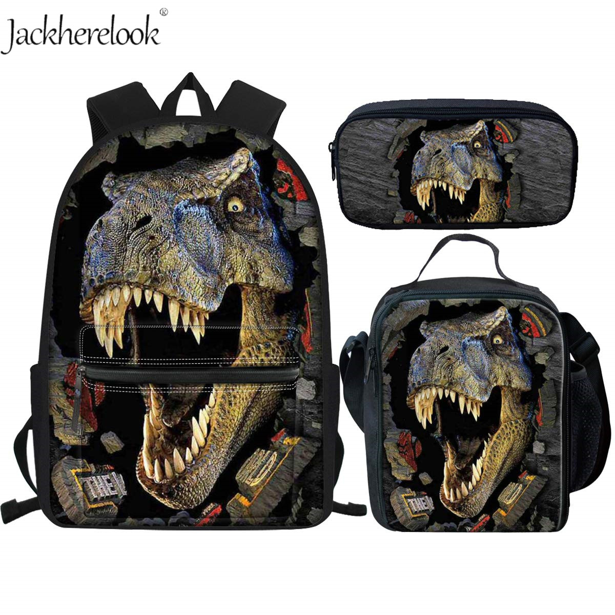 Jackherelook Cool T-rex Dinosaur School Bags Set 3Pcs Large Canvas Backpack Teen Boys Students Book Bag With Lunch Box Pen Case
