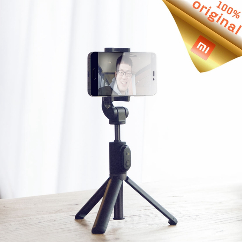 Original Xiaomi Foldable Tripod Selfie Stick Bluetooth SelfieStick Monopod Handheld With Wireless Shutter For iPhone Android bluetooth selfie stick extendable handheld monopod clip holder shutter remote controller tripods for iphone android with packag