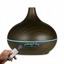 550ML rozpylacz zapachów ultradźwiękowy nawilżacz powietrza ziarno drewna 7 kolorowe światło nocne zdalny elektryczny dyfuzor do aromaterapii olejków eterycznych