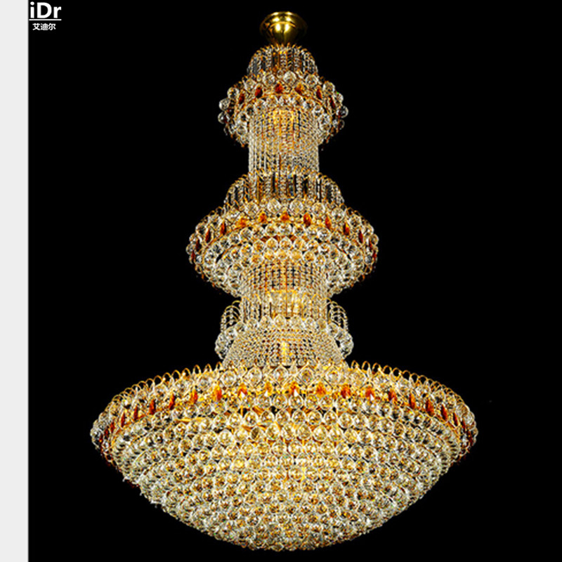 Traditional yellow crystal lamp living room penthouse villa stairs 2 - Indoor Lighting - Photo 2