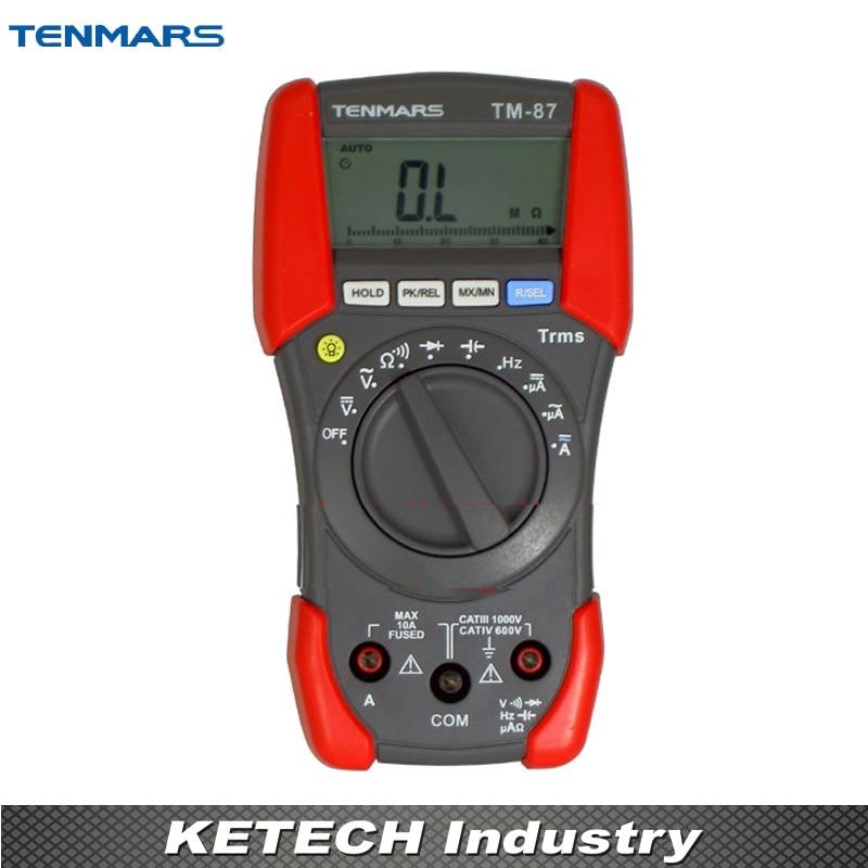 TENMARS Portable TM-87 Digital Multimeter, LCD Backlit Display, with Maximum Reading of 3999  tm 204 light meter with 3 1 2 digits lcd with maximum reading 2000