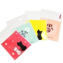 50-100 шт 7X7 см милые Мультяшные животные пластиковый пакет для свадебного печенья Подарочная упаковка для конфет сумки DIY сам клейкий мешочек вечерние сувениры