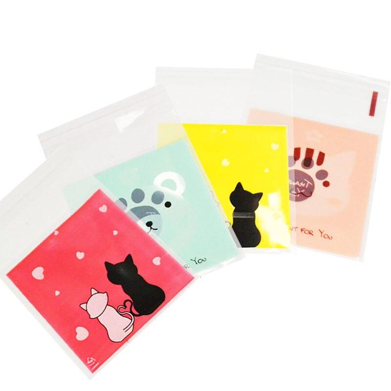 50-100 Uds. 7X7CM bolsa de plástico de dibujos animados de animales bonitos galletas para boda bolsas de embalaje de dulces bolsa autoadhesiva DIY para recuerdos de fiesta