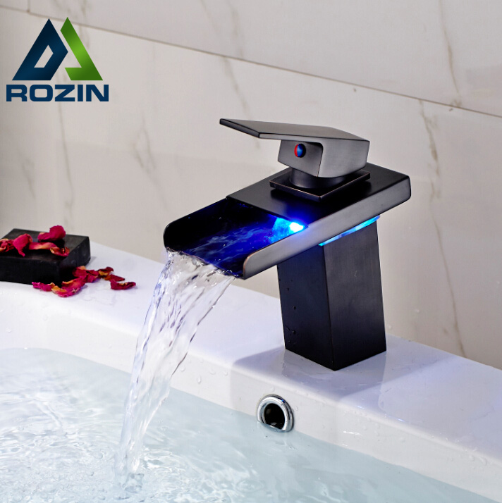 LED Lights Color Changing Bathroom Sink Basin Mixer Faucet Deck Mount Basin Faucet Tap with Hot and Cold Water led color changing brushed nickle basin faucet hot and cold water faucet waterfall spout dual handle tap