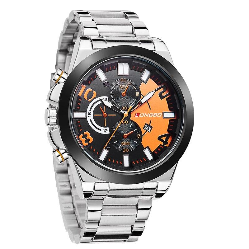 LONGBO Luxury Men Steel Leather Watch Band Sports Quartz Watches For Men Male Leisure Clock Simple