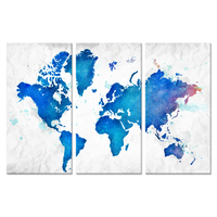 Large Size 3 Panel Canvas Wall Art Vintage World Map Starry Night With Teal Blue Old Pictures Prints Artwork for Living Room