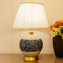 Ceramic Table Lamp Blue Lamps For The Bedroom Carving Ceramics Chinese Style Copper 110v 220v Led
