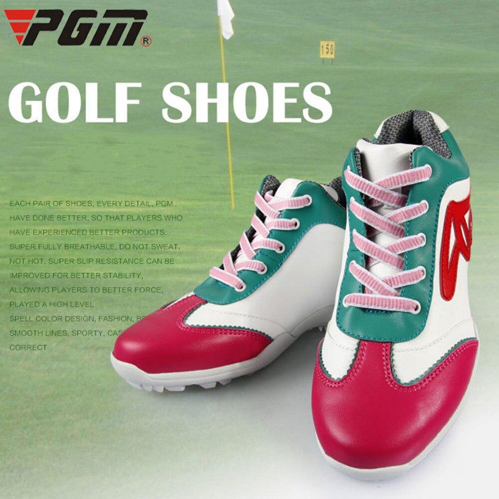 PGM обувь для гольфа Водонепроницаемый из натуральной кожи на высоком каблуке гольф спортивная обувь дышащая ультра-тонкой белой розовый же...